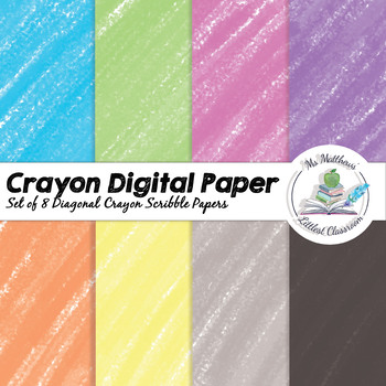 Digital Crayon Paper - Diagonal Crayon Scribbles - 8 Colours