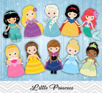 Digital Cute Princess Clip Art Snow White Cinderella Belle Ariel Jasmine 00169