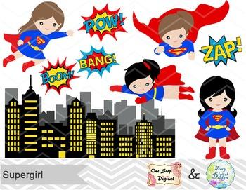 Digital Cute Supergirl Clip Art Superhero Clip Art Superman Girls Clip Art 00187