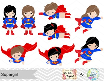Digital Cute Supergirl Clip Art Superhero Clip Art Superman Girls Clip Art 00187