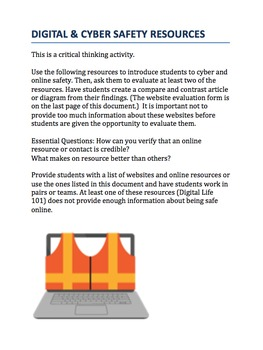 Digital Cyber Safety: Got Credibility? A CRITICAL THINKING ACTIVITY