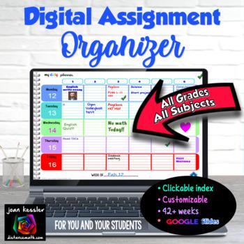 Teacher Planner and Digital Assignment Organizer with GOOGLE Slides