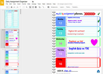Editable Teacher Planner and Digital Assignment Organizer with GOOGLE Slides™