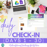 Digital Daily Check-In Forms for Distance Learning {Days 1-30}