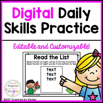 Digital Daily Skills Review for Kindergarten {Editable}