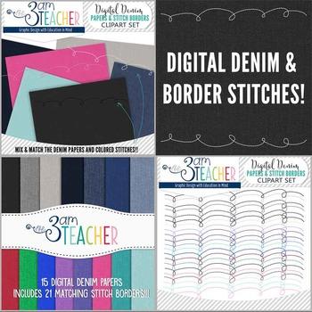Digital Denim & Stitches Clipart Set
