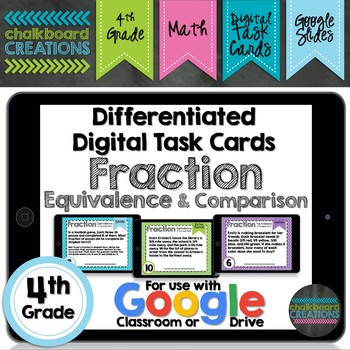 Digital Differentiated Task Cards: Fraction Equivalence and Comparison (GOOGLE)