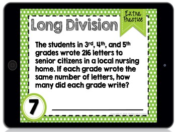 Digital Differentiated Task Cards: Long Division (GOOGLE)