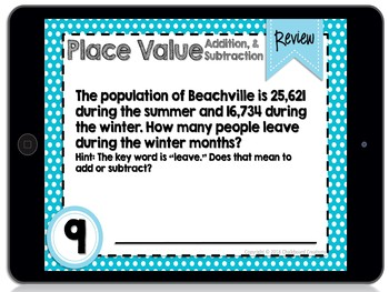 Digital Differentiated Task Cards: Place Value, Addition, & Subtraction (GOOGLE)