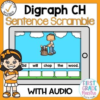 Boom Cards Digraph CH Sentence Scrambles