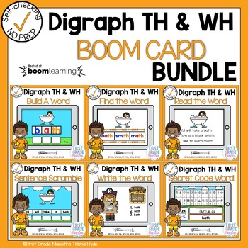 Boom Cards Digraph TH and WH Phonics Bundle