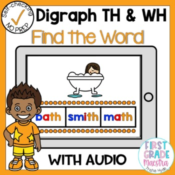 Boom Cards Digraph TH and WH Find the Word