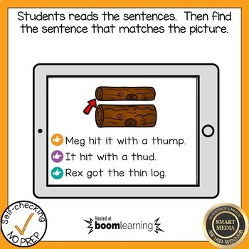 Digital Digraph Th and Wh Read the Word Boom Card