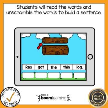 Boom Cards Digraph Th and Wh Sentence Scrambles