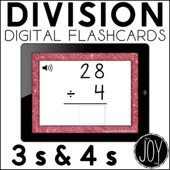 Digital Division Flashcards for 3s and 4s
