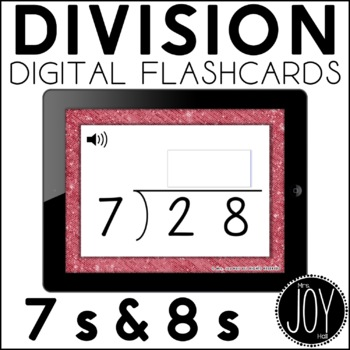 Digital Division Flashcards for 7s and 8s