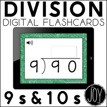 Digital Division Flashcards for 9s and 10s