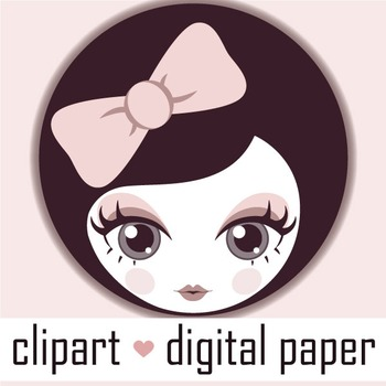 Digital Dollface Button - for your blog!