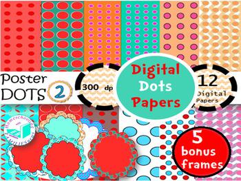 Digital Dots Paper 2- plus bonus 5 scallop frames