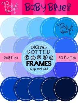 Digital Dotted Round Frames - Baby Blues