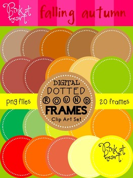 Digital Dotted Round Frames - Falling Autumn