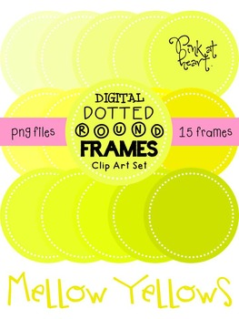 Digital Dotted Round Frames - Mellow Yellows