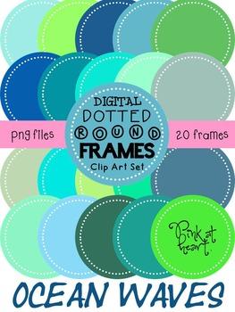 Digital Dotted Round Frames - Ocean Waves