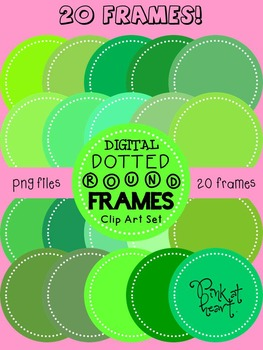 Digital Dotted Round Frames - Oh My Green