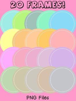 Digital Dotted Round Frames - Pastels