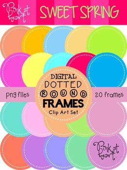 Digital Dotted Round Frames - Sweet Spring