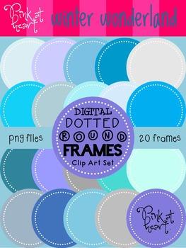 Digital Dotted Round Frames - Winter Wonderland