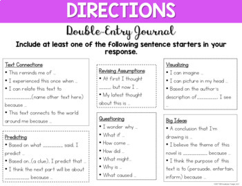 Digital Double-Entry Journal for Middle School & High School