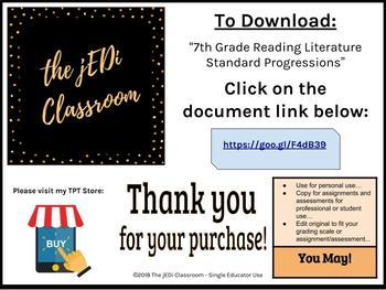 Digital Download - 7th Grade Reading Literature Standard Progressions