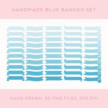 Digital Download Blue Banners Set
