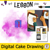 Digital Drawing Lesson. Draw a cake in procreate. iPad art lesson. Middle School