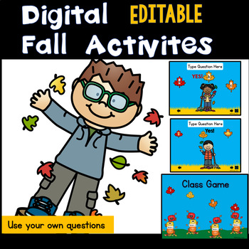 Digital EDITABLE  Fall Activities and Class Game (Smart Boards and Computers)