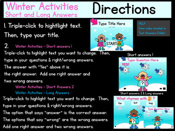 Digital EDITABLE  Winter Activities and Class Game (PowerPoint Presentations)
