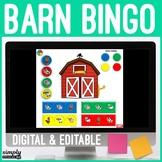 Digital Editable Bingo in the Barnyard for No Print Speech