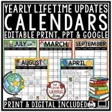 Digital Editable Calendar 2021-2022 Template Back to School Classroom Management