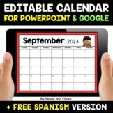 Digital Editable Monthly Calendar for PowerPoint and Googl