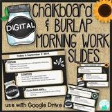 Digital Editable Morning Work Templates - Chalkboard & Burlap Theme