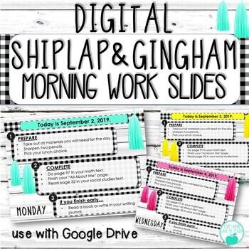Digital Editable Morning Work Templates - Shiplap and Black Gingham