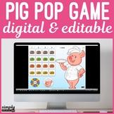Digital Editable Pig Pop Burger Game for No Print Speech T