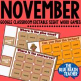 Digital Editable Sight Word Game for November