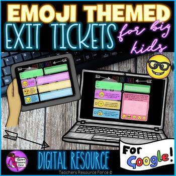 Digital Emoji Exit Slip Tickets for Google