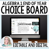 Digital End of Year Algebra 1 Choice Board - Great for Distance Learning