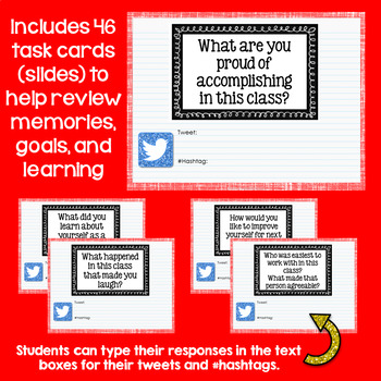 Digital End of Year Twitter Task Cards