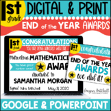 Digital End of the Year Awards | Distance Learning | Google | First Grade