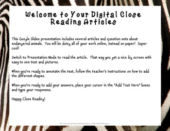 Digital Endangered Animal Non Fiction No Prep Close Reading