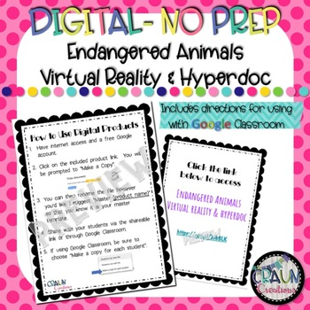 Digital Endangered Animals Hyperdoc VR 360 - Google Classroom